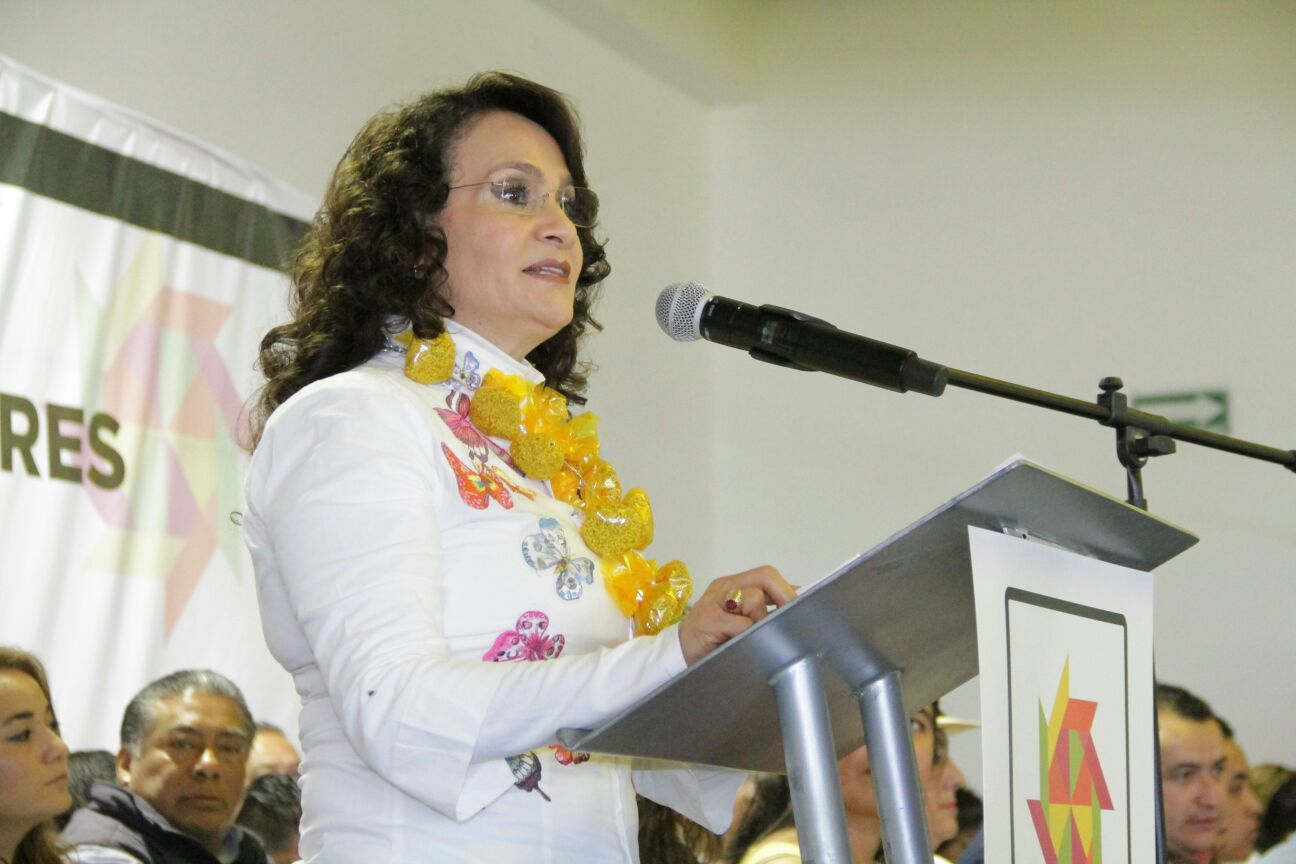 Dolores Padierna Luna en la Reunión Nacional de Líderes del MNE.